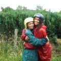 Girls hugging in outdoor gear