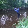 Crossing river on rope